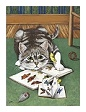 Sample Cats Who Read note card